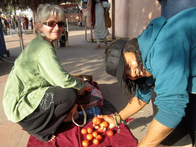 Dharma friends Mary Grace and Cheryl Harrison in India, February, 2013.