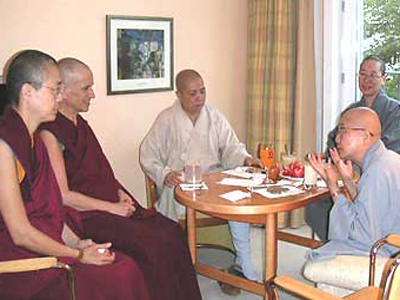 An informal discussion: Venerable Tenzin Kacho, Venerable Thubten Chodron, Venerable Wu Yin, Venerable Jendy, Venerable Heng-ching.