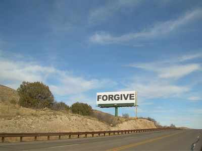 "Highway sign that says ""Forgive""."