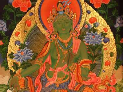 Thangka image of Green Tara.