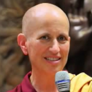 Closeup of Ven. Chodron's face while teaching.