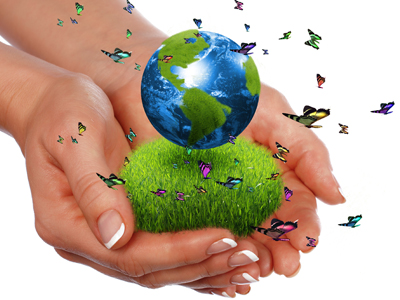 Hands holding a patch of green grass and the earth, surrounded by butterflies.