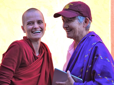 Venerable Jampa and Mary Grace, smiling.