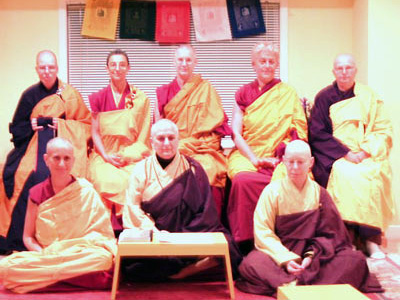 Venerable chodron and other bhikshunis at Posadha ceremony.