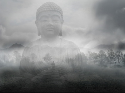 Transparent image of a Buddha transposed over a landscape with mountains and trees.