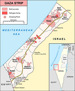 Map image of the Gaza Strip.