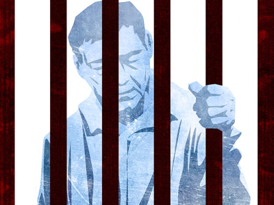 Image of a man behind bars, one of his hands holding the bar.