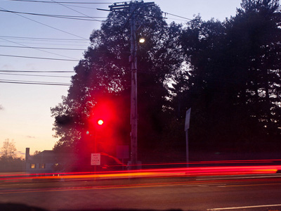 Traffic light glowing red.