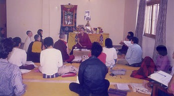 Venerable teaching to a group of young people in Bodhgaya.