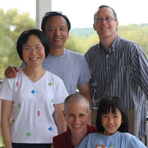 Venerable Chodron with the Wey family and FOSA's co-chair, Kevin.