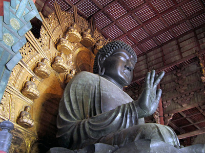 Large sculpture of a Buddha.