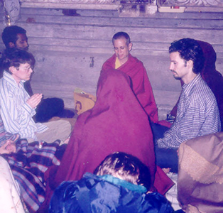 Venerable Chodron in meditation with a small group of lay practitioners.