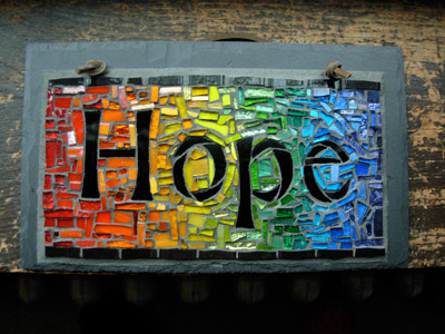 A Hope Rainbow Mosaic sign.