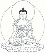 Image of Akshobya Buddha, the left hand in his lap in the gesture of meditative equipoise, the right hand in the earth-touching gesture
