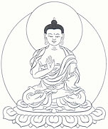 Amogasiddhi Buddha, left hand is in meditative equipoise and the right hand is bent at the elbow with the palm facing outwards