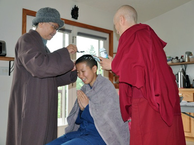 Venerable Damcho during her head-shaving ceremony.
