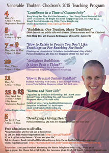 Poster for Venerable's 2015 Singapore teachings.
