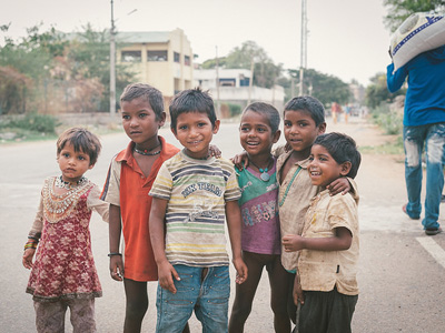 A group of children standing together.