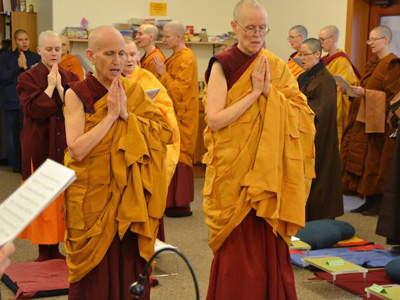 Monastics participating in a ceremony.