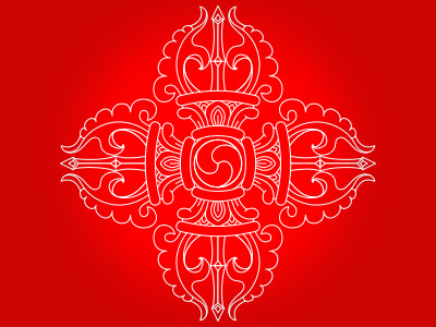 White double dorje over red background.