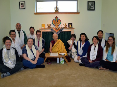 Group of lay students with Venerable Chodron after precept ceremony.