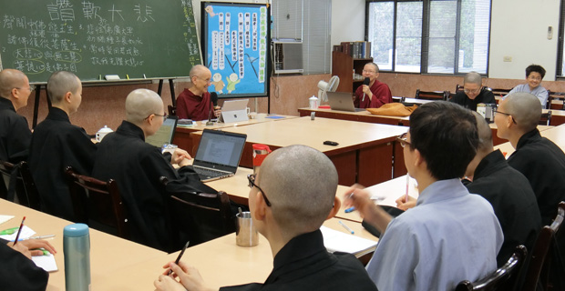 Venerable teaching to a group of nuns.