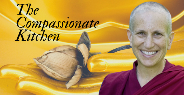 "Venerable Chodron smiling with ""The Compassionate Kitchen"" text to her left and the Buddha's hand holding a lotus in the background."