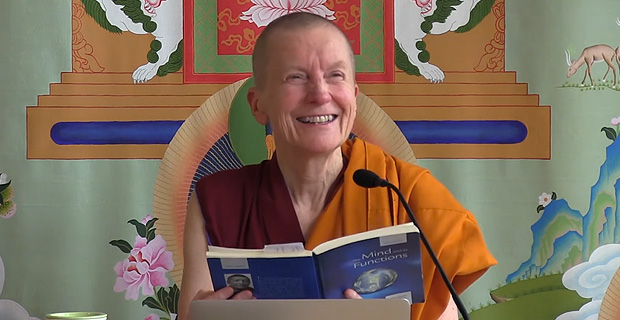 Venerable Sangye Khadro smiling while teaching in Ananada Hall.