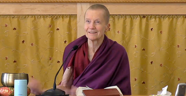 Venerable Sangye Khadro smiling while teaching.