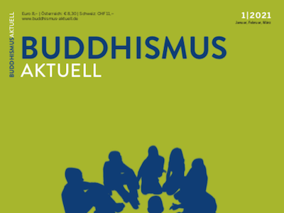 Cover image of Buddhismus magazine, showing silhouette of people sitting in a circle.