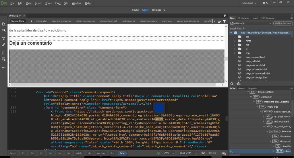El editor de código de Dreamweaver 2017 es totalmente nuevo.
