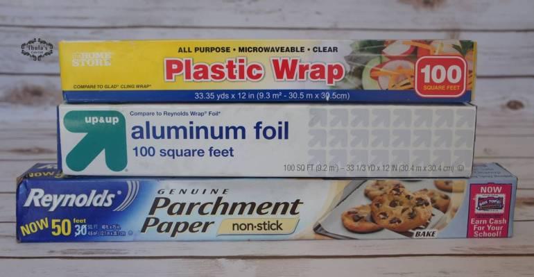 foil, parchment paper and cling film