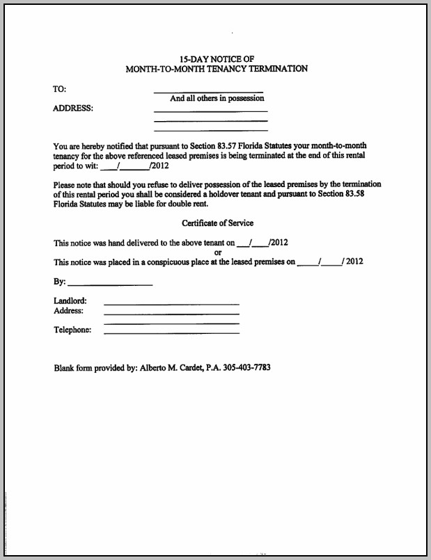 15 Day Eviction Notice Template