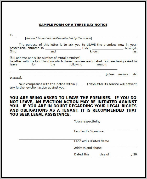 3 Day Eviction Notice Template Florida