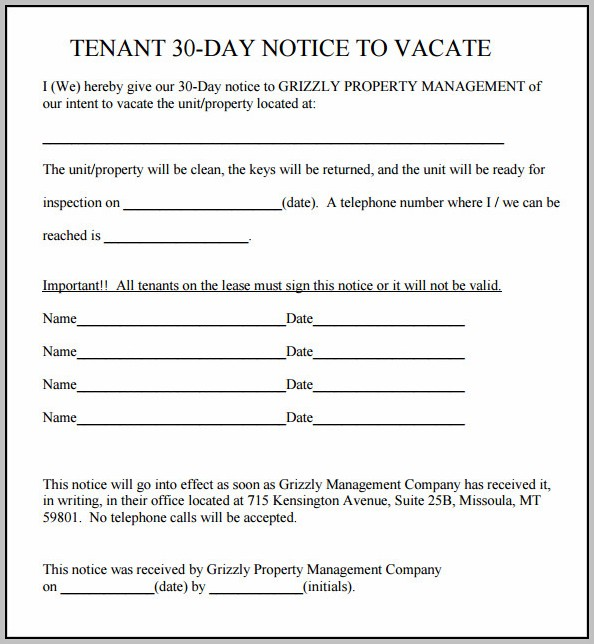 30 Day Eviction Notice Template Uk