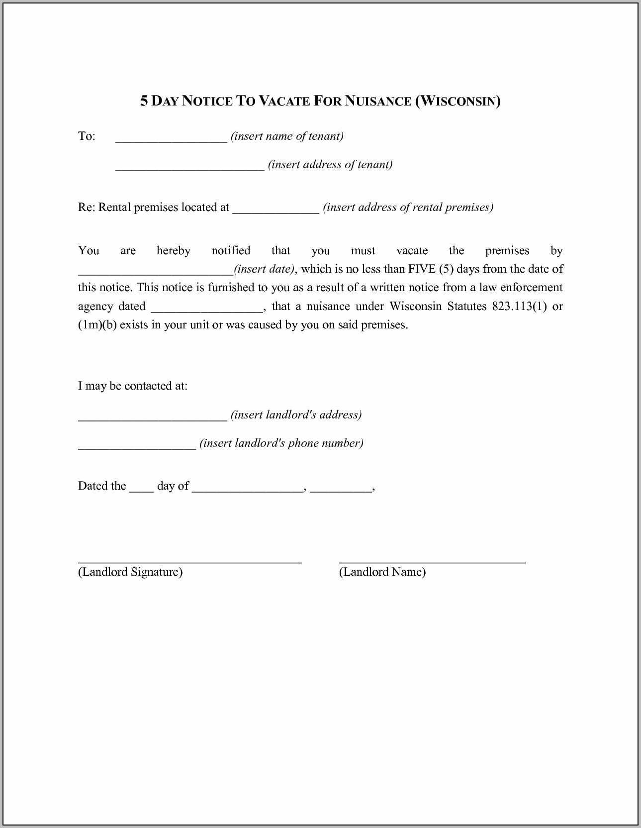 5 Day Eviction Notice Template