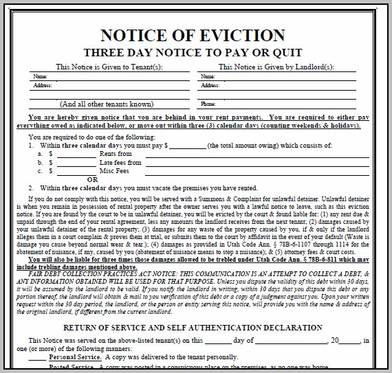 Eviction Notice Form Alabama