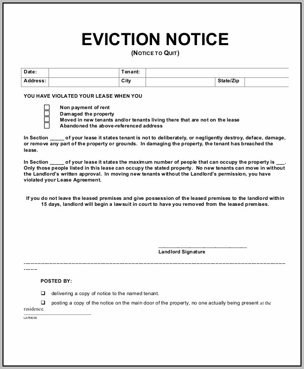 Eviction Notice Form Arkansas