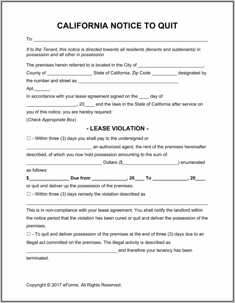Eviction Notice Form California