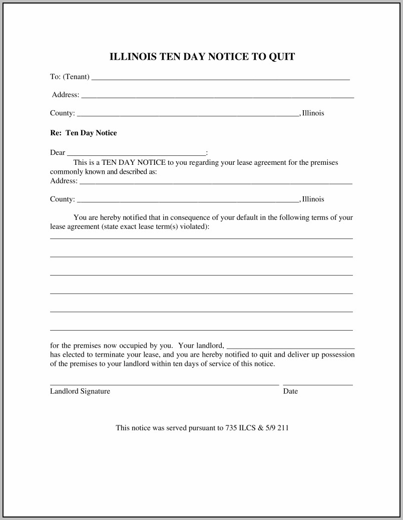 Eviction Notice Form Illinois