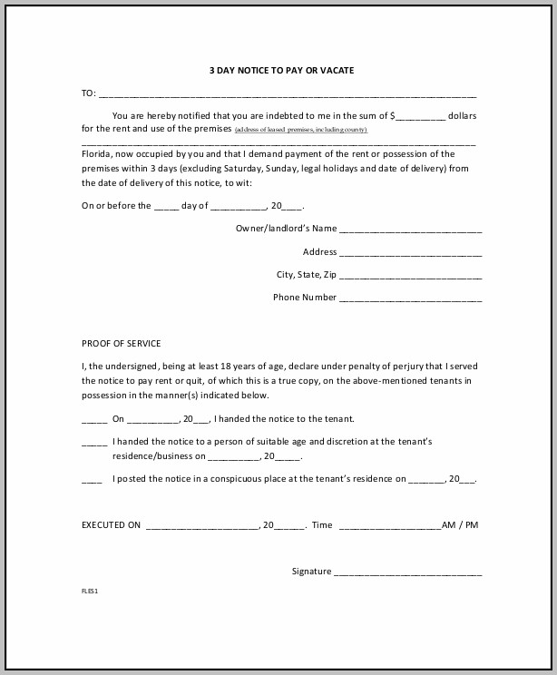 Eviction Notice Form In Florida