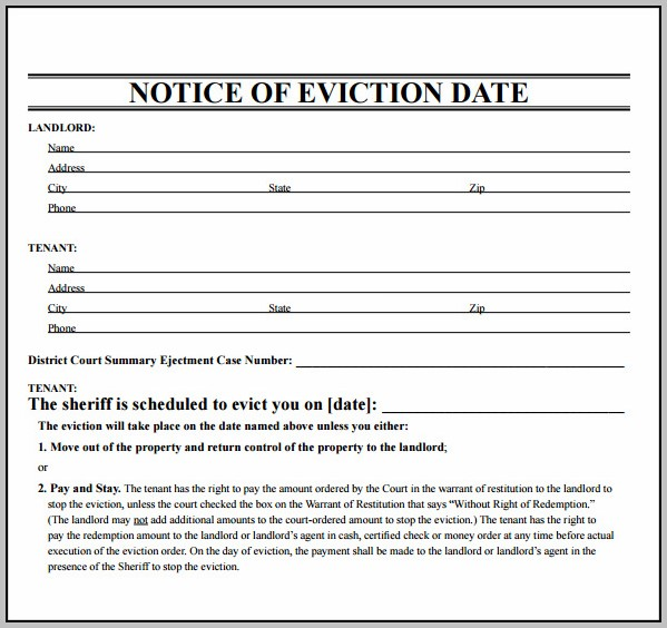 Eviction Notice Form Letter Free