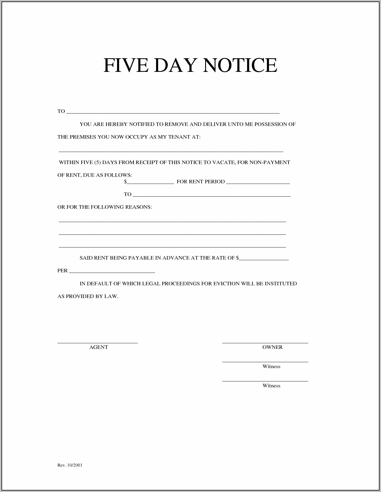 Eviction Notice Form Wisconsin