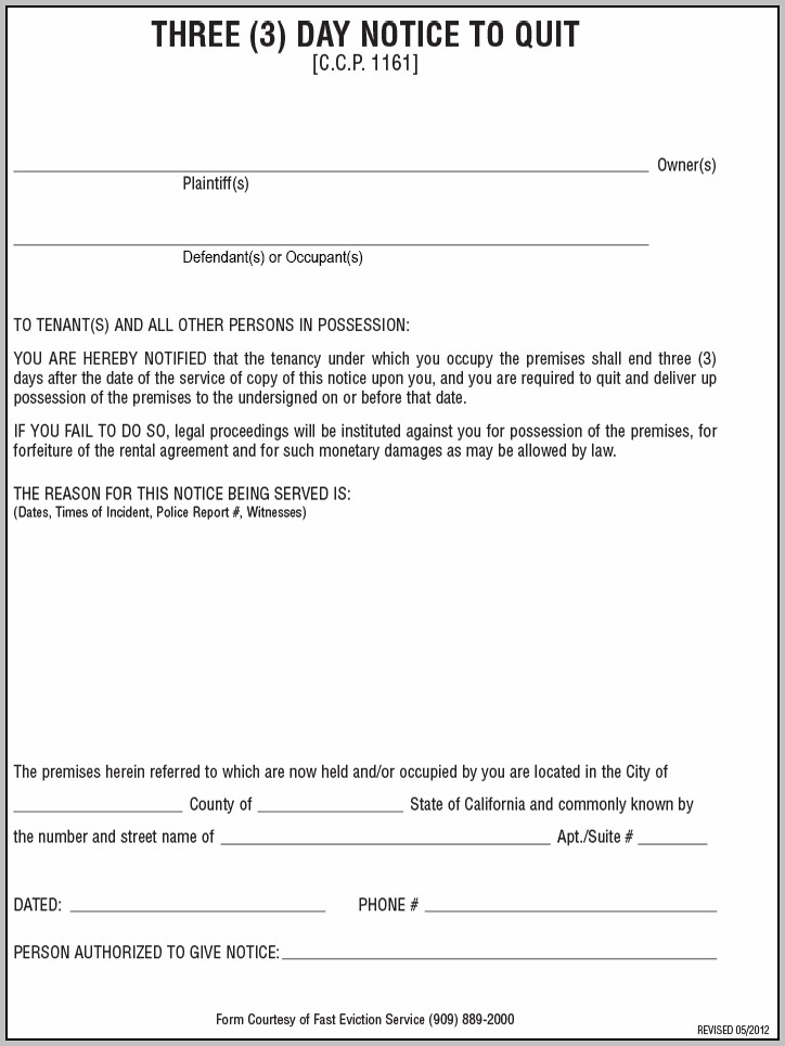Eviction Notice Form Wv