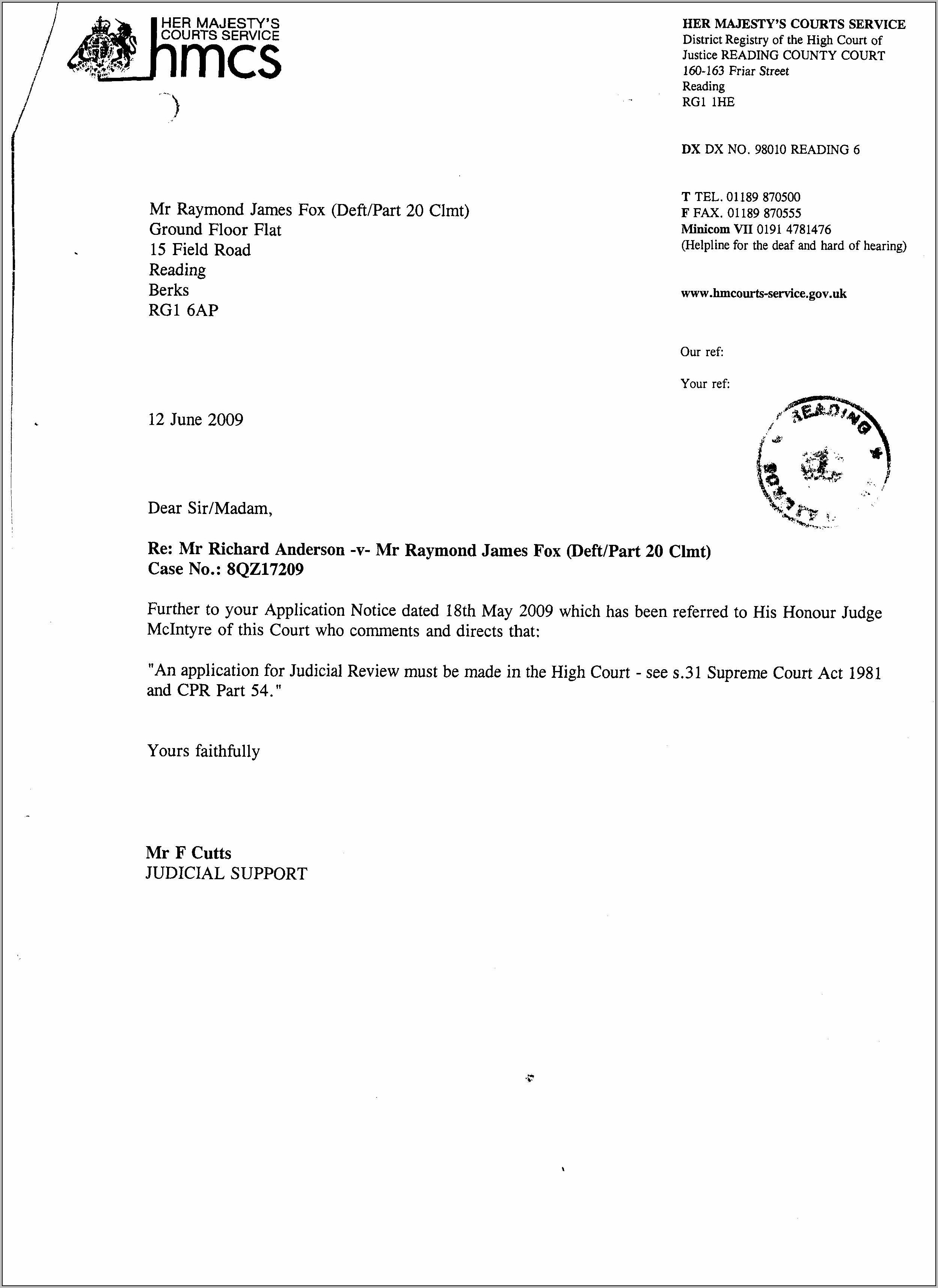 Eviction Notice Letter Template Uk