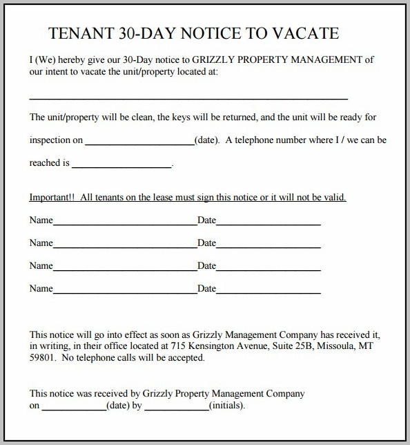 Eviction Notice Template 30 Day