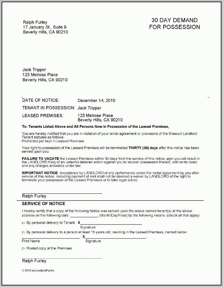 Missouri 30 Day Demand For Possession | Ez Landlord Forms With Regard To 30 Day Eviction Letter