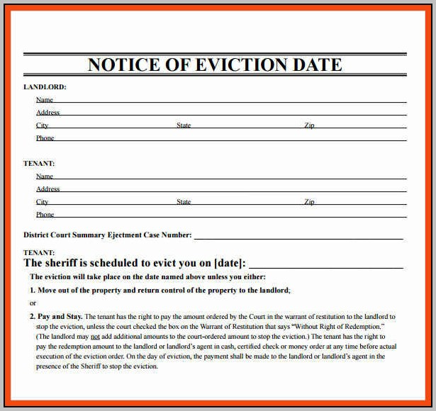 Eviction Notice Template Printable