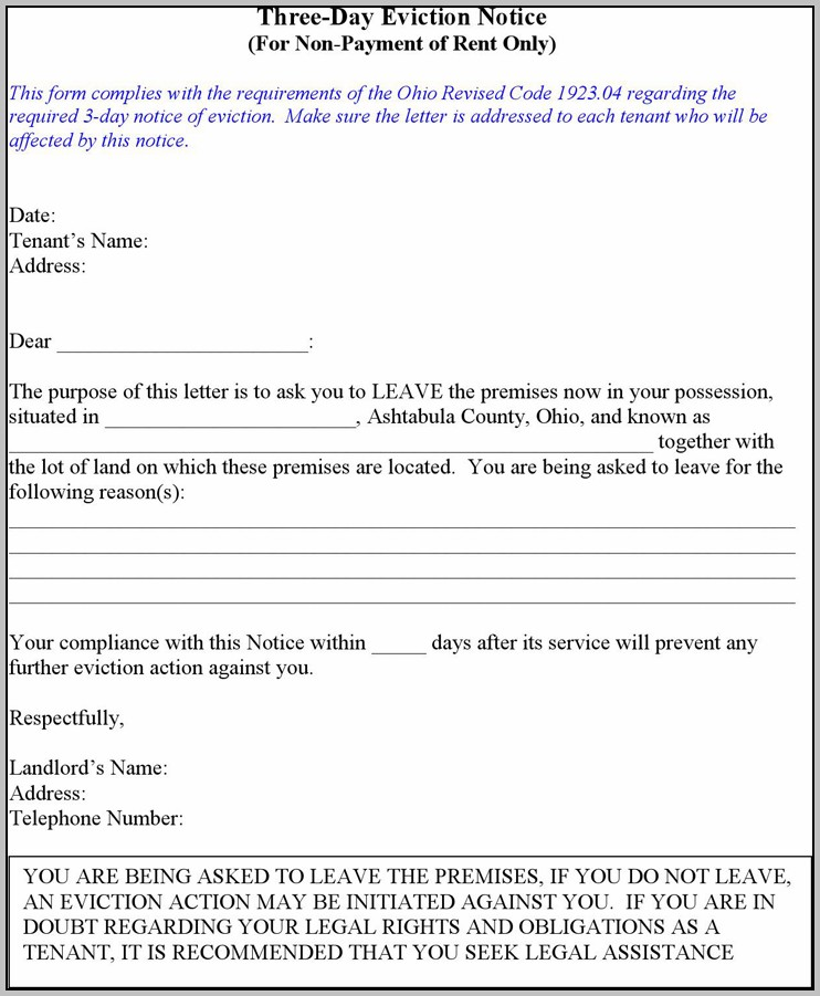Eviction Notice Template Qld