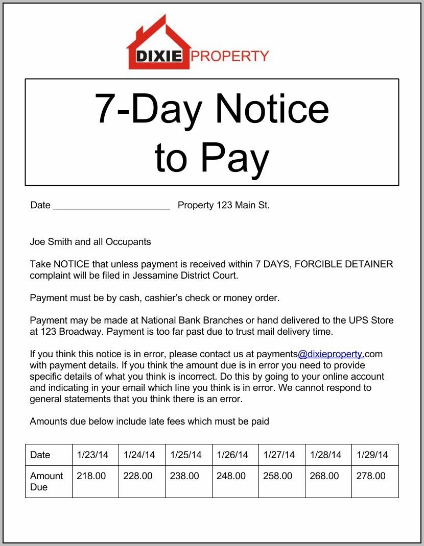 Eviction Notice Template Texas Free